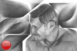 Cubistic portrait graphite pencil drawing thumbnail