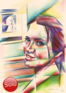 cubistic portrait colored pencil drawing thumbnail