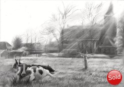 surrealistic landscape graphite pencil drawing thumbnail