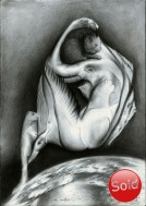 Surrealistic nude graphite pencil dawing thumbnail