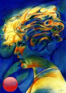 surrealistic portrait colored pencil drawing thumbnail of Mary Pickford