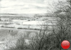 Realistic landscape graphite pencil drawing thumbnail