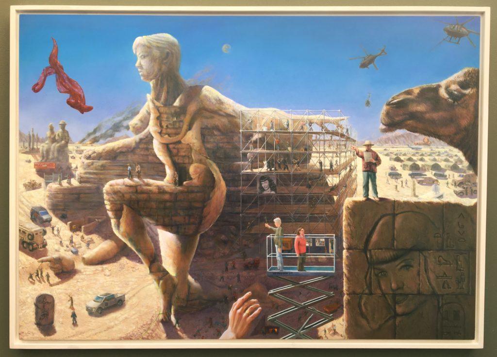 Framed surrealist landscape oil painting