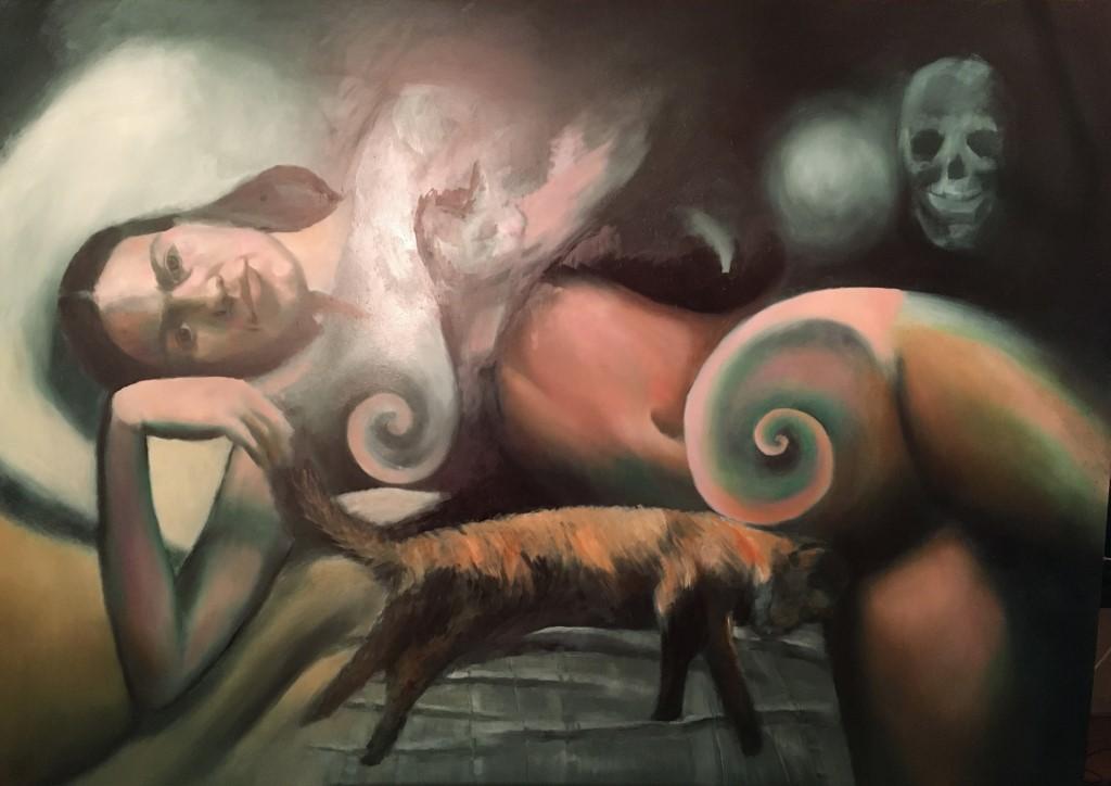 painting in progress of Frida Kahlo