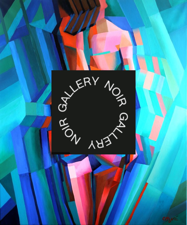 cubistic nude painting advertisement