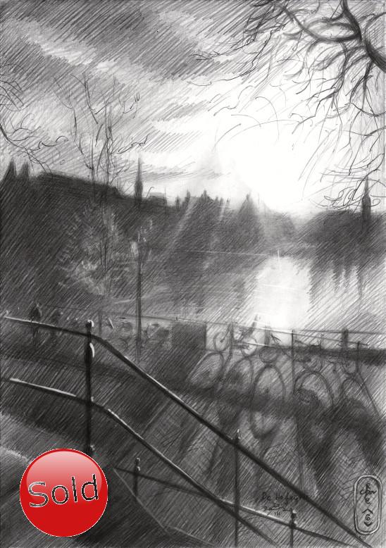 impressionist cityscape graphite pencil drawing promotion