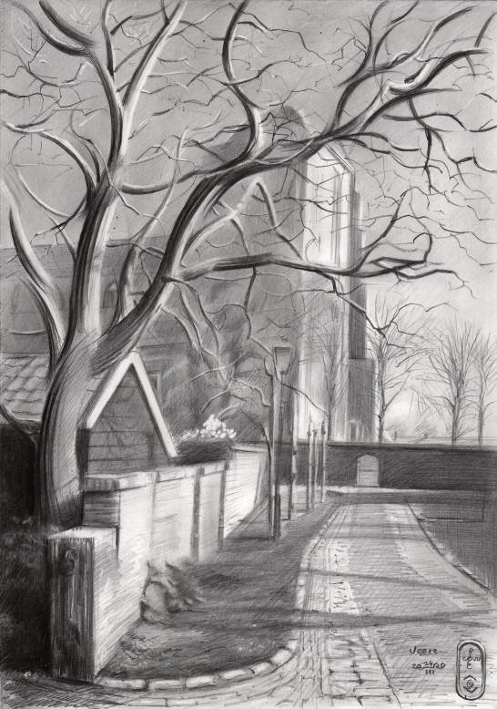 cubist cityscape graphite pencil drawing