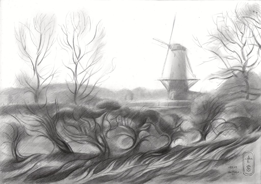 cubist landscape graphite pencil drawing