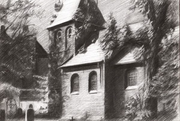 realistic graphite pencil drawing of a protestant church
