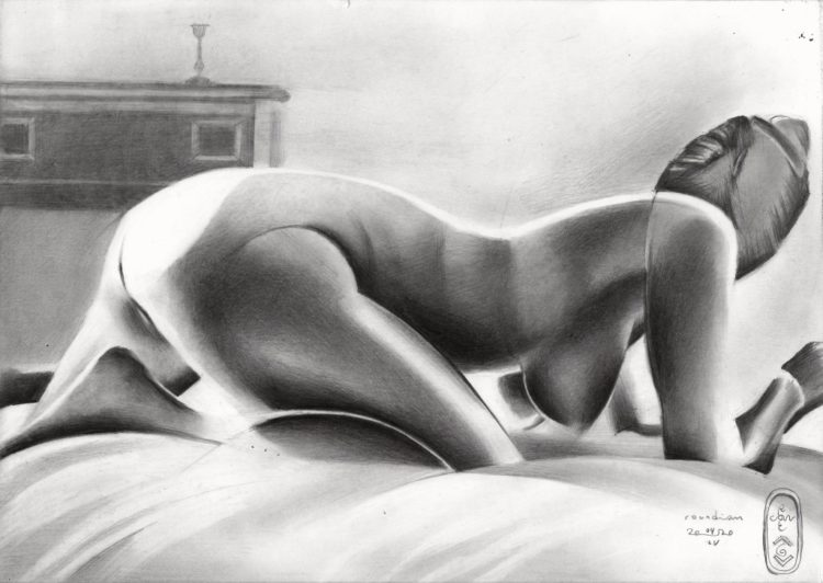 surrealist nude graphite pencil drawing
