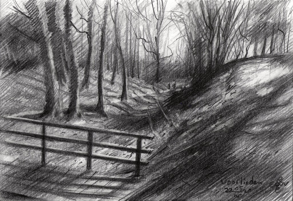 impressionist landscape graphite pencil drawing