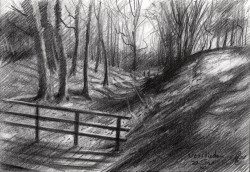 impressionist landscape graphite pencil drawing thumbnail