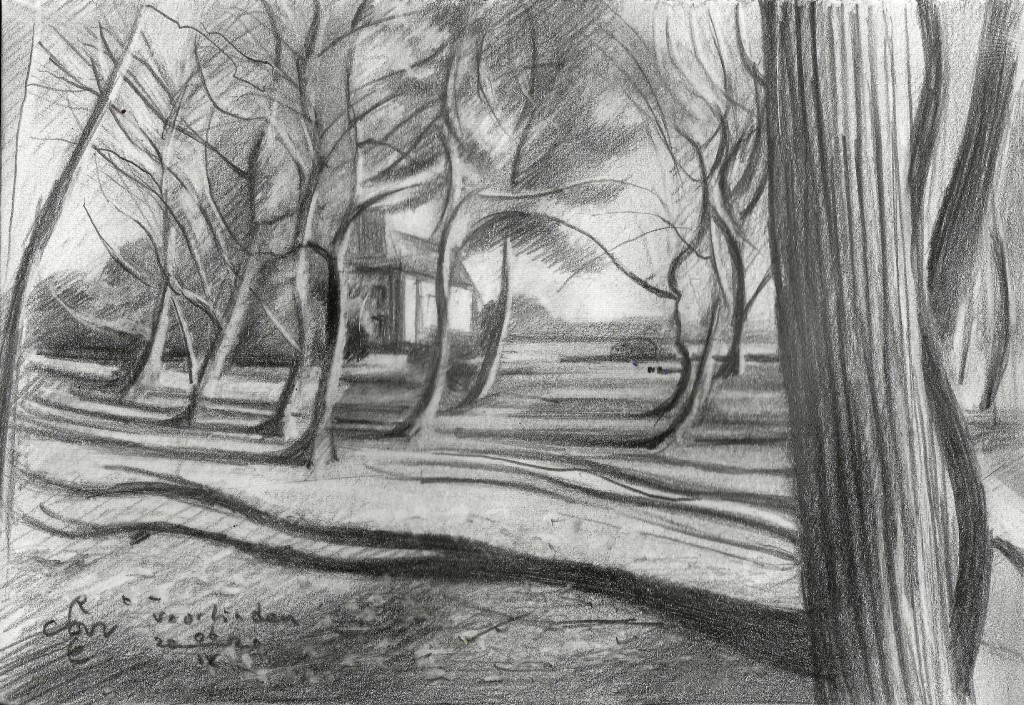 cubistic landscape graphite pencil drawing