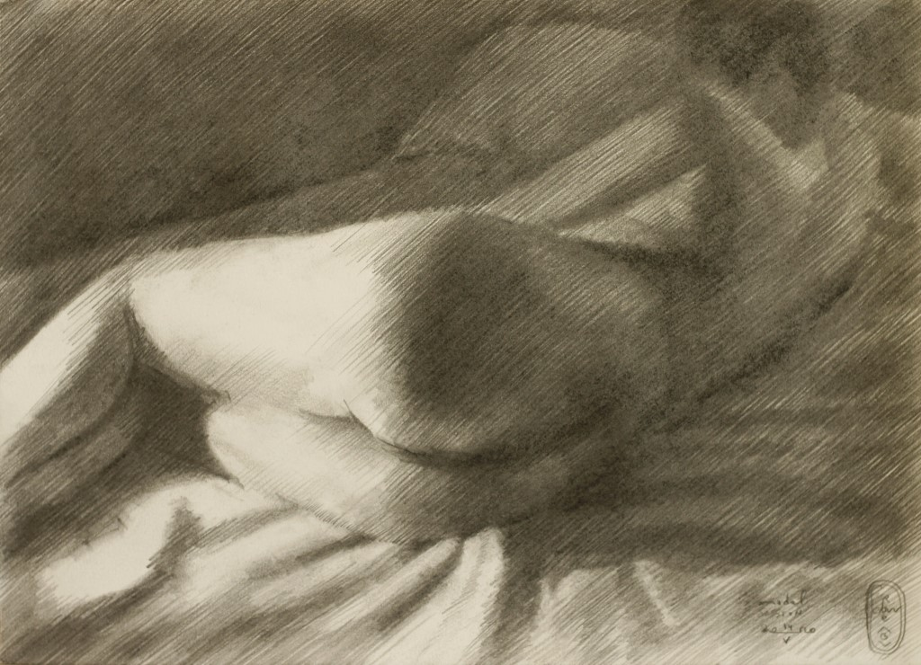 Impressionistic nude charcoal drawing