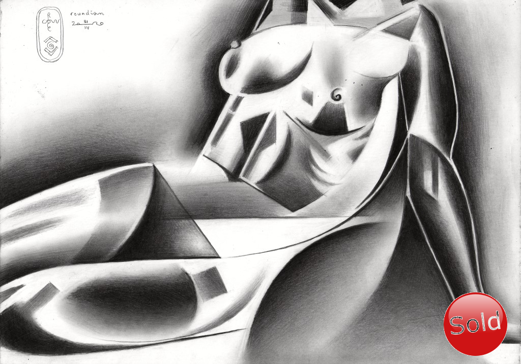 Cubist nude graphite pencil drawing