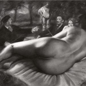 Surrealistic nude graphite pencil drawing with Malle Babbe, dejeuner sur l'herbe, rembrandt, la belle ferroniere and salvador dali