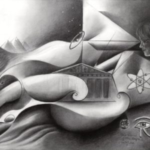 Surrealist graphite pencil drawing