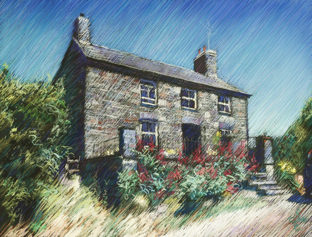 impressionistic cottage pastel drawing