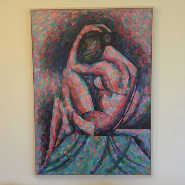 cubistic nude oil painting example framing