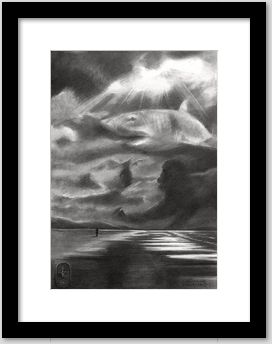 surrealistic seascape graphite pencil drawing framing example