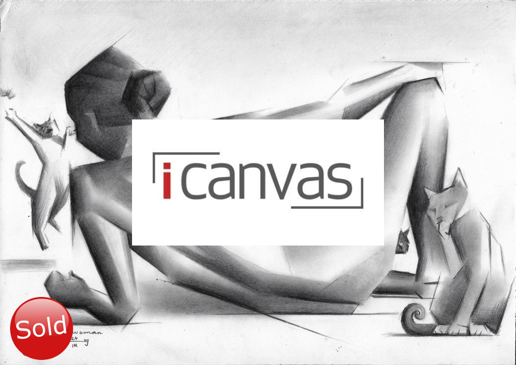 cubistic nude graphite pencil drawing advertisement