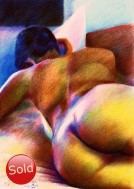 expressionistic nude colored pencil drawing thumbnail