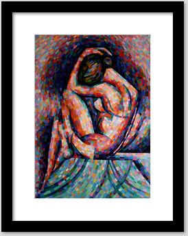 cubistic oil painting framing example