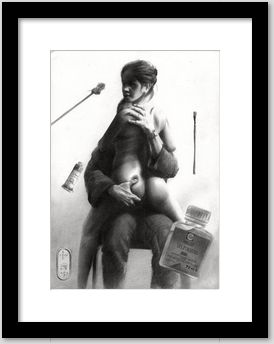 surrealistic nude graphite pencil drawing framing example