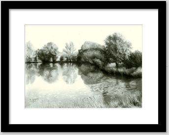 surrealistic landscape graphite pencil drawing framing example