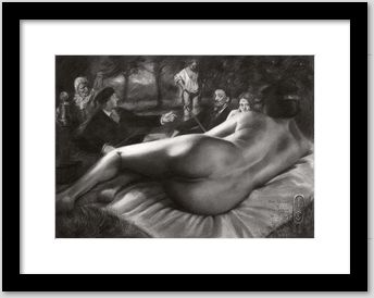 surrealistic nude graphite pencil drawing example