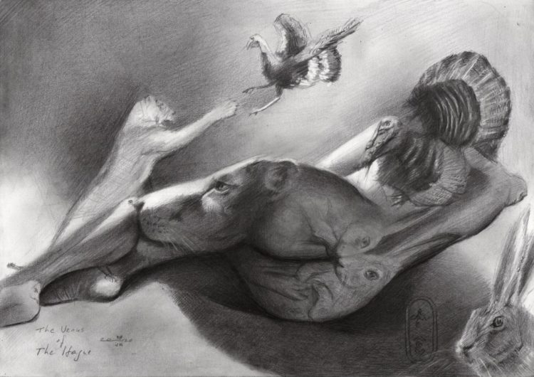 Surrealistic nude graphite pencil drawingSurrealistic nude graphite pencil drawing