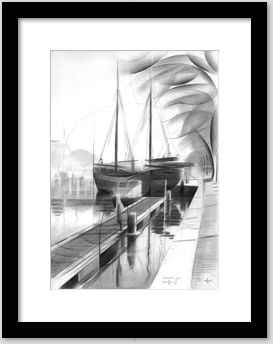 cubistic landscape graphite pencil drawing framing example