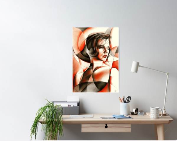 cubistic natalie wood colored pencil drawing poster mockup