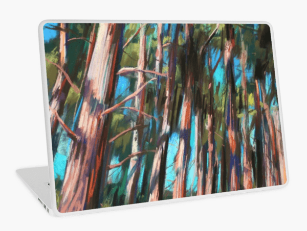 impressionist treescape pastel drawing laptop skin mockup