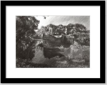 impressionistic landscape graphite pencil drawing framing example