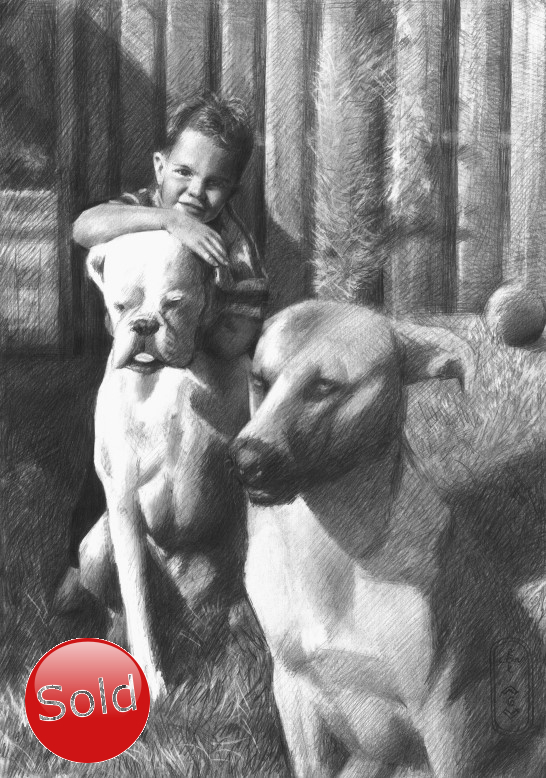 realistic graphite pencil drawing of a boy with dogs