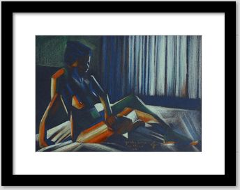 framed example of cubistic nude colored and pastel drawing called golden brown