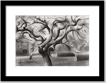 cubistic treescape graphite pencil drawing framing example
