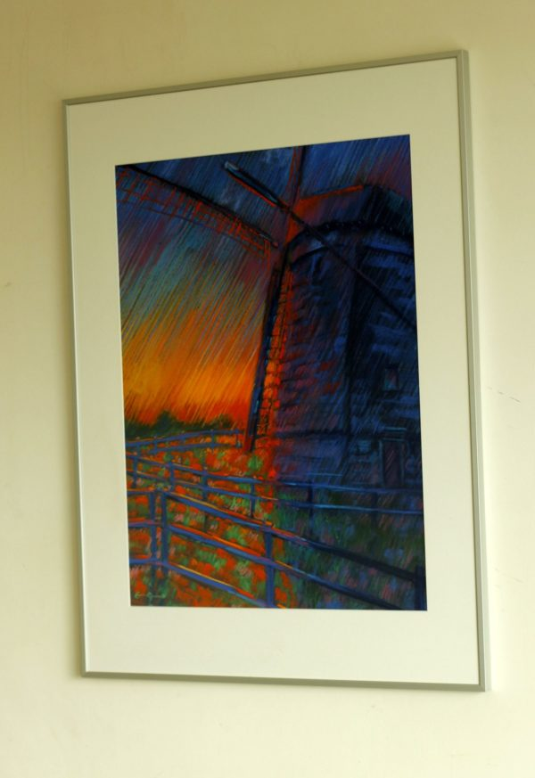 expressionistic landscape pastel drawing framing example