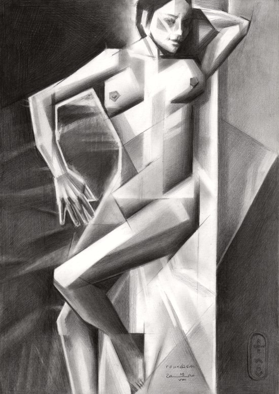 Cubistic nude graphite pencil drawing in the roundism series
