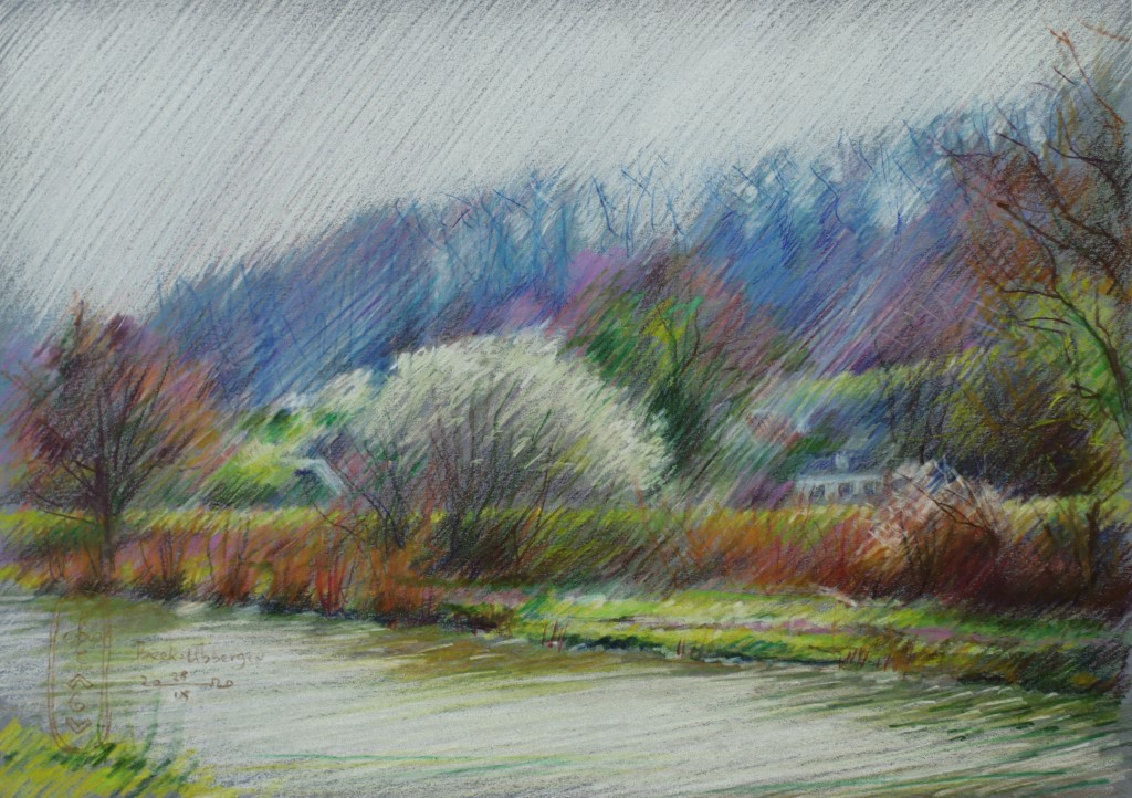 impressionistic landscape colored pencil drawing