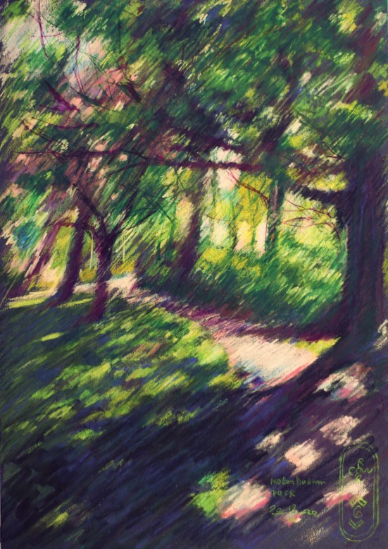 impressionistic treescape colored pencil drawing