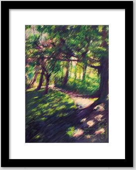 impressionistic treescape colored pencil drawing framing example