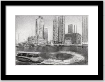 framing example of an impressionistic graphite pencil drawing of Rotterdam