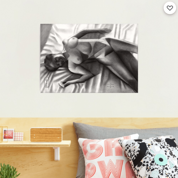 cubist nude graphite pencil drawing photographic print mockup