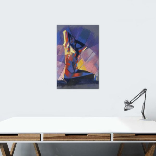 cubistic nude pastel drawing framing example