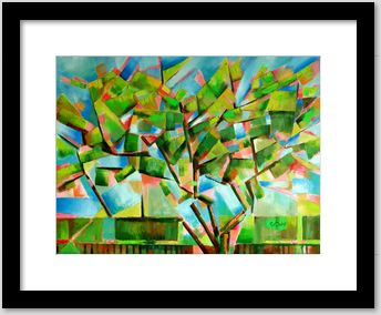 cubistic treescape oil painting framing example