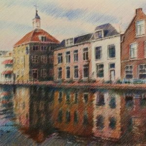 impressionistic urban colored pencil drawing
