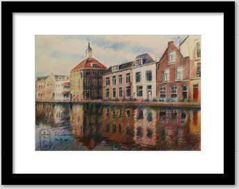 impressionistic urban colored pencil drawing framing example