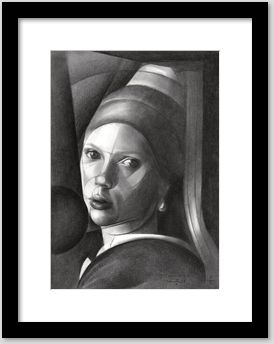 cubistic scarlett johansson graphite pencil drawing framing example